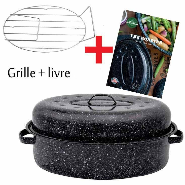 Cocotte grand modele roaster avec grille et livre recettes