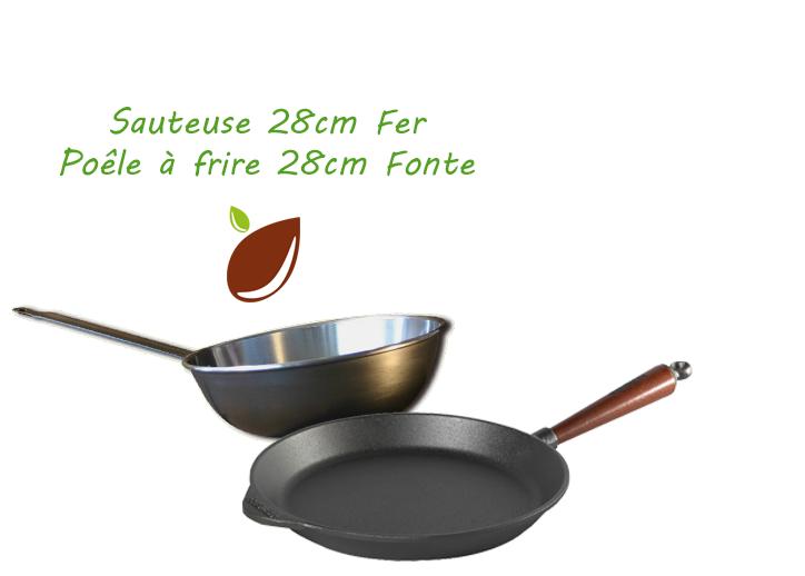 Lot sauteuse en fer 28 cm + poêle à frire fonte 28 cm