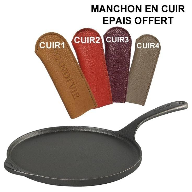 Crepiere avec manchon en cuir