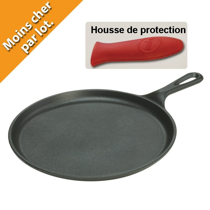 Lot poele crepe fonte lodge et housse