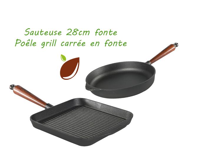 Lot poeles fonte - sauteuse + poele grill Skeppshult