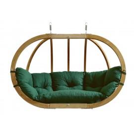Balancelle ovale bois - Vert - coussin étanche