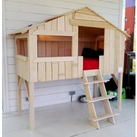 Lit cabane simple en bois massif demi brut
