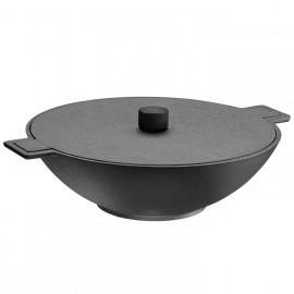 wok en fonte skeppshult serie noire avec couvercle